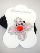 Pink Flower Ponytail Holder with Rhinestones