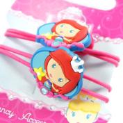 "Pair of elastic ""Princess Jewels"" turquoise pink."