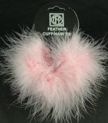 2 Candy Pink Marabou Feather Hair Tie Scrunchy Pony Tail Holders NEW!
