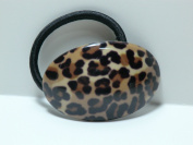 Charles J. Wahba - Oval-shaped Elastic Ponytail Holder in Leopard Finish