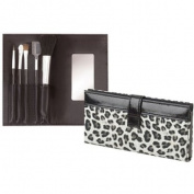 5 pcs Cosmetics Brush Set Cala Beauty On-The-Go W/ Leopard Case # 70648