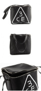 KOREAN COSMETICS, Style NANDA_ 3 CONCEPT EYES, SQUARE POUCH # Black (unique design, leather material) [001KR]