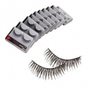 New 10 Pair Reusable Charming Cross Fake False Eyelashes Glue Adhesives Eye Lashes Makeup Black 57