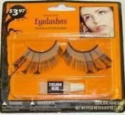Feathered Light Blue False Eyelashes Halloween with Adhesive