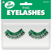 Amscan Party Ready Team Spirit Tinsel Eyelashes (2 Pack), Green, 14cm x 13cm