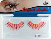 Elegant Lashes C023 Premium Colour False Eyelashes (Coral Red-Orange Colour Eyelashes with Gold & Navy Metallic Mix) Halloween Dance Rave Costume