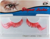 Elegant Lashes C193 Premium Colour False Eyelashes (Coral Red-Orange and Silver Mix Colour Lashes with Extra-Long Accent Ends) Halloween Dance Rave Costume