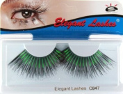 Elegant Lashes C847 Premium Colour False Eyelashes (Super-Long Black Eyelashes with Green Metallic Mix) Halloween Dance Rave Costume