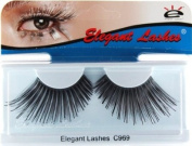 Elegant Lashes C969 Premium Colour False Eyelashes (Ultra-Long Black Eyelashes with Shiny Black Metallic Mix) Halloween Dance Rave Costume