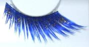 Zink Colour Cobalt Blue with sparkling gold glitter false eyelashes E858 costume