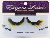 """Elegant Lashes F481 Premium Feather False Eyelashes """"Fuzzy Bumblebee"""" Black and Yellow Feathers"""