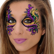 Mardi Gras EYE Mask Xotic Eyes Professional Eye Make Up Green Purple Gold Costume