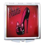 Fluff Black with Red Ribbon Stiletto Mini Square Compact Mirror