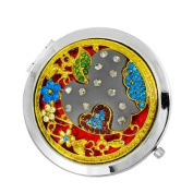 1x Beautiful ornate apple compact mirror with rhinestone details - Red/Gold