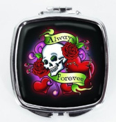 """Compact Makeup Mirror with Skull """"Always / Forever"""" Design"""