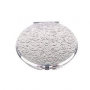 Silver Leaves Round Compact Mirror