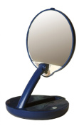 Lighted Adjustable 15X Travel Mirror Compact in Blue Case