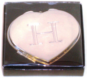 """Valentines Personal Heart Compact Makeup Mirror """"H"""""""