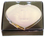 """Valentines Personal Heart Compact Makeup Mirror """"I"""""""