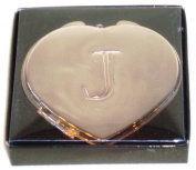 """Valentines Personal Heart Compact Makeup Mirror """"J"""""""