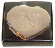 """Valentines Personal Heart Compact Makeup Mirror """"N"""""""