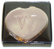 """Valentines Personal Heart Compact Makeup Mirror """"W"""""""