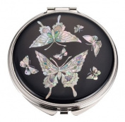 Silver J Mother of pearl hand mirror, compact type, handmade gift, black butterflies