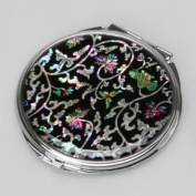 Mother of Pearl Arabesque Flower Design Double Compact Cosmetic Makeup Purse Beauty Pocket Mirror