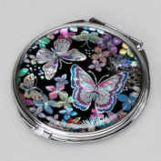 Mother of Pearl Butterfly and Flower Design Double Compact Cosmetic Makeup Handbag Pocket Beauty Purse Mirror