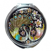 Mother of Pearl Peacock Pair and Flower Design Double Compact Magnifying Purse Mirror