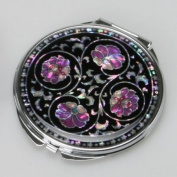 Mother of Pearl Purple Flower Art Deco Black Round Double Compact Handbag Purse Makeup Cosmetic Pocket Hand Mirror with Arabesque Design