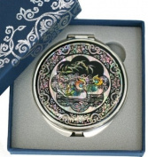 Silver J Hand mirror, compact type, handmade mother of pearl gifts, mandarin duck