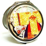 Silver J Handbag compact mirror, portable cosmetic mirror, handmade mother of pearl gift, queen's gown