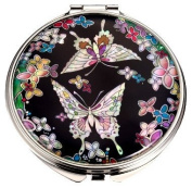 Silver J Mother of pearl compact mirror, pocket cosmetic mirror, handmade gift, black butterflies. Gift box with black mirror case.