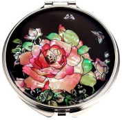 Silver J Nickel plated hand mirror, compact type, handmade mother of pearl gift, rose