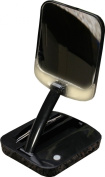 Floxite Fl-10bst 10x Lighted Adjustable Compact Mirror With Bright Led Lights and Tweezer, Black