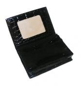 Miamica ID Please Black Croc Mirror Wallet Travel Card Case