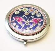 Butterfly on Blue Make-up Round Compact Mirror