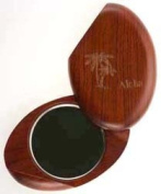 """Compact Mirror - Wooden Oval Carved """"Aloha"""" and Palm Trees"""