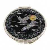 Mother of Pearl Bird and Yellow Moon Design Double Compact Magnifying Cosmetic Makeup Purse Beauty Pocket Mirror