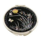 Mother of Pearl Orchid Flower and Yellow Moon Design Double Compact Magnifying Cosmetic Makeup Purse Beauty Pocket Mirror