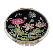 Mother of Pearl Pink Lotus Flower Design Double Compact Magnifying Cosmetic Makeup Purse Beauty Pocket Mirror
