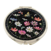 Mother of Pearl Pink White Cosmos Flower Design Double Compact Magnifying Cosmetic Makeup Purse Beauty Pocket Mirror