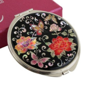 Mother of Pearl Red Peony Flower Design Double Compact Magnifying Cosmetic Makeup Purse Beauty Pocket Mirror