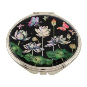 Mother of Pearl White Lotus Flower Design Double Compact Magnifying Cosmetic Makeup Purse Beauty Pocket Mirror