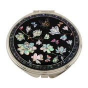 Mother of Pearl White Magnolia Flower Design Double Compact Magnifying Cosmetic Makeup Purse Beauty Pocket Mirror