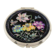 Mother of Pearl Yellow Purple Lily Flower Design Double Compact Magnifying Cosmetic Makeup Purse Beauty Pocket Mirror