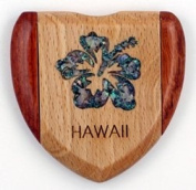 Compact Mirror of a Wooden Heart-Shape with an Abalone Inlay Hibiscus