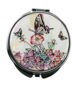 Silver J Beautiful handmade mother of pearl cosmetic mirror, white butterfly
