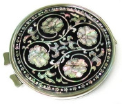 Silver J Handmade mother of pearl hand mirror, compact type, black dangcho